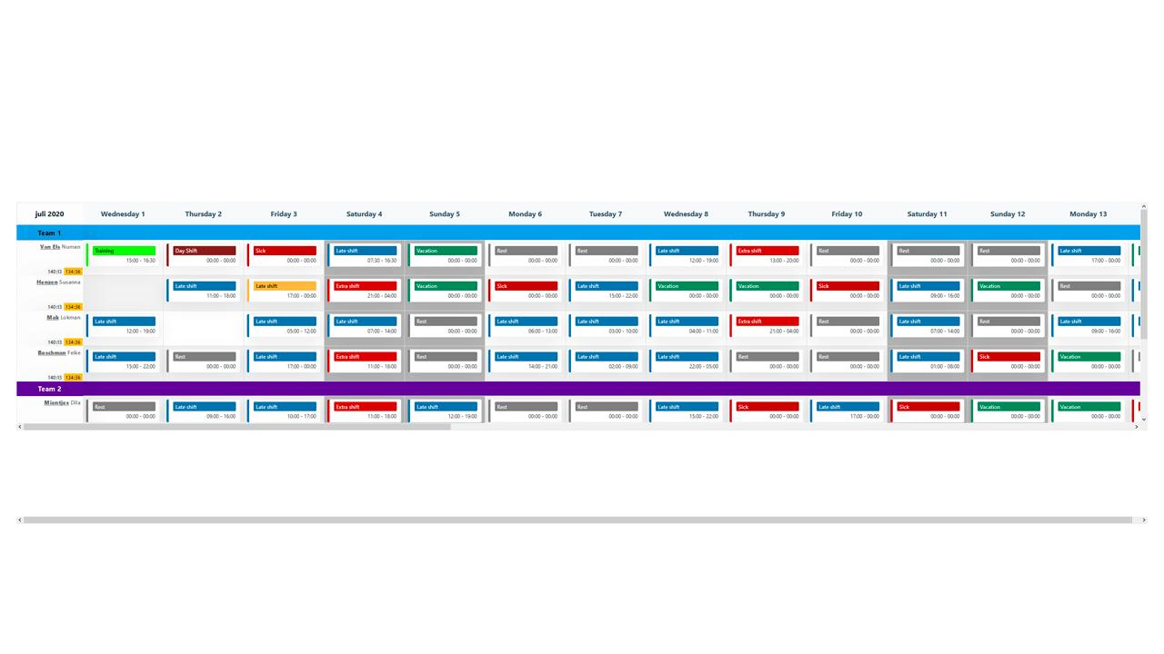 Demo image: User Calendar/Scheduler - Drag & Drop