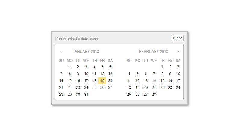 Demo image: jQuery Date Range Picker Plugin