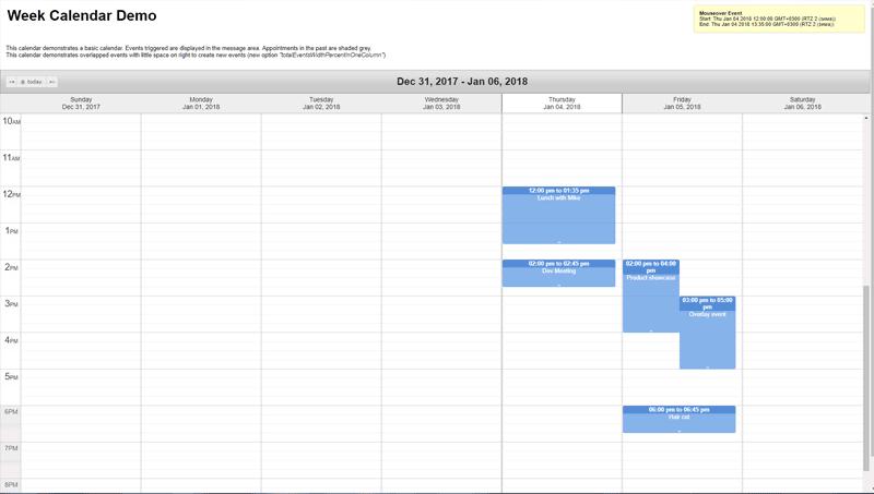 Demo image: jQuery Week Calendar