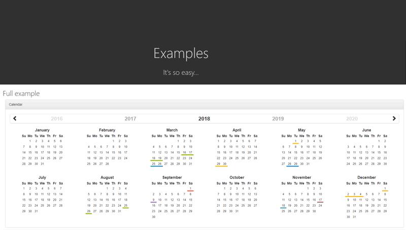 Demo image: Bootstrap Year Calendar