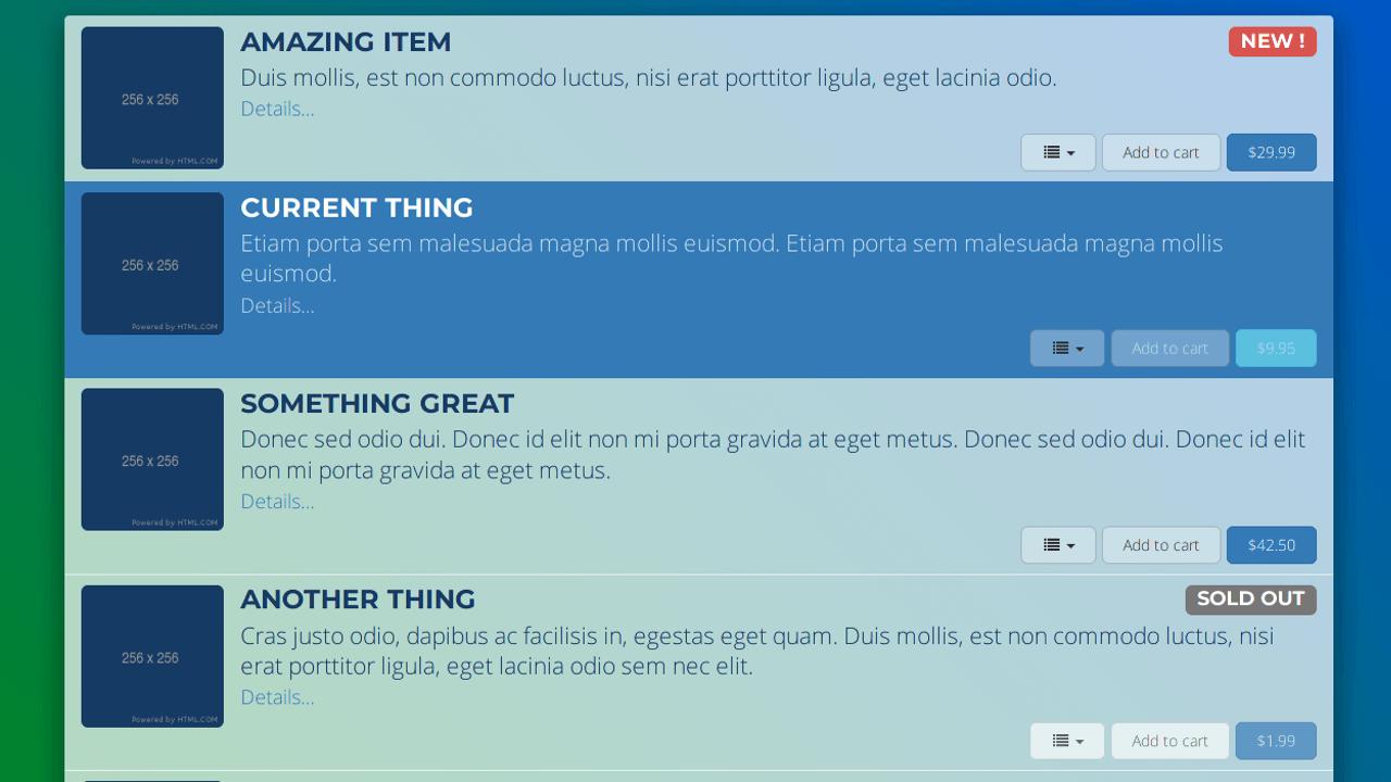 Demo image: Bootstrap List