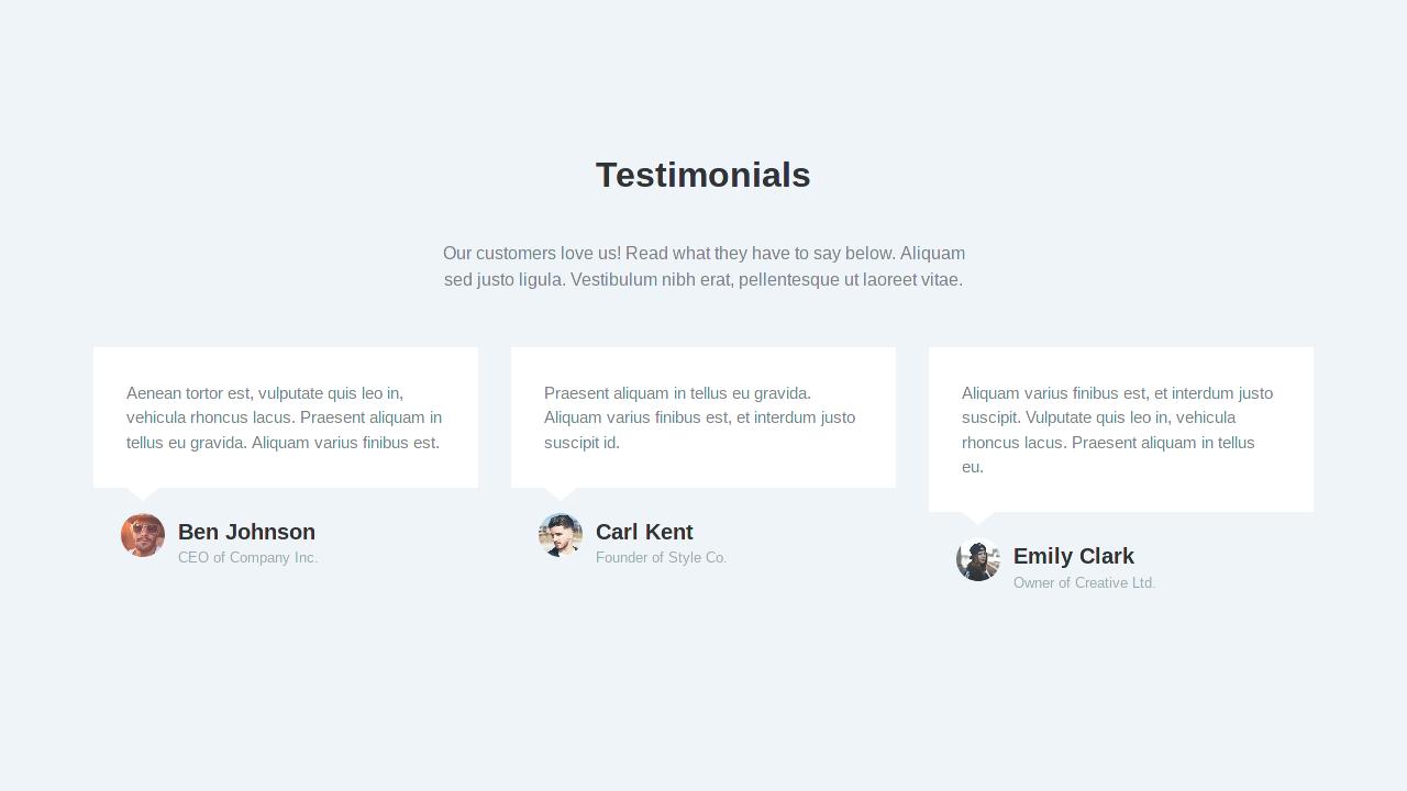 Demo image: Bootstrap Testimonials