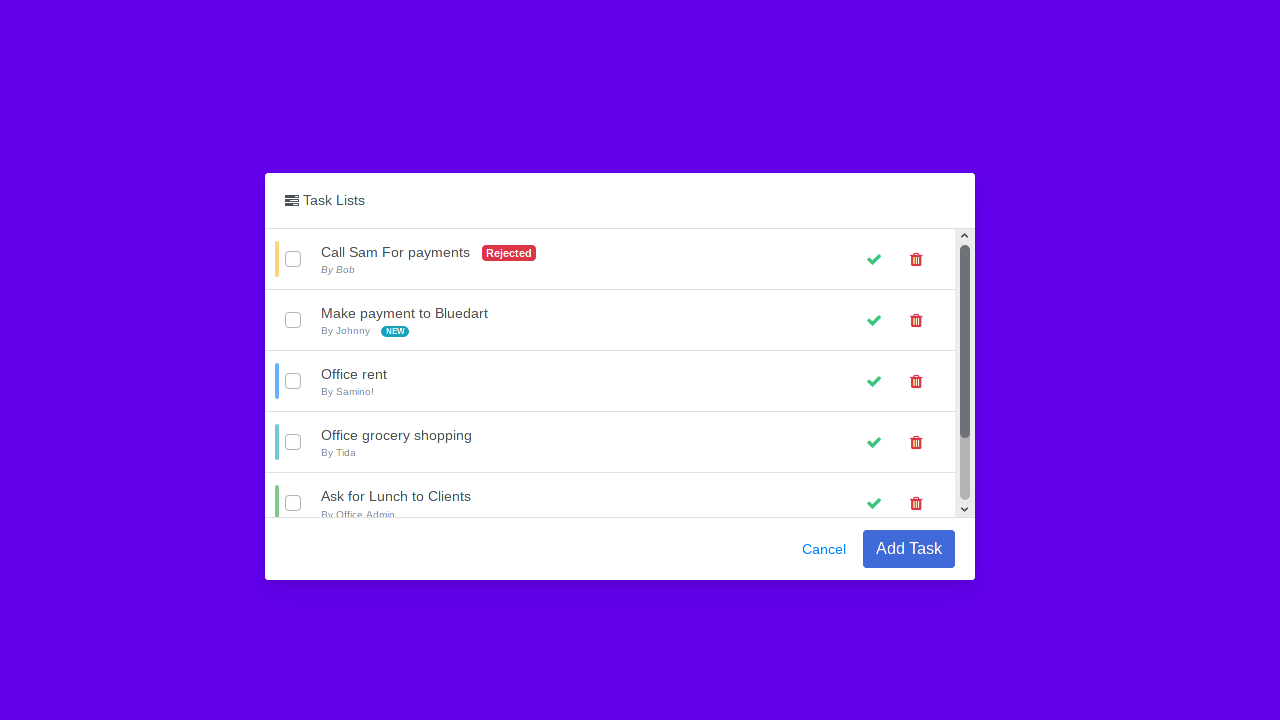 Demo image: Bootstrap 4 Todo Task List
