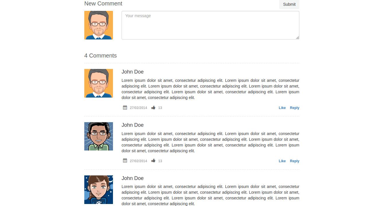 Demo image: Bootstrap Blog Item Comments