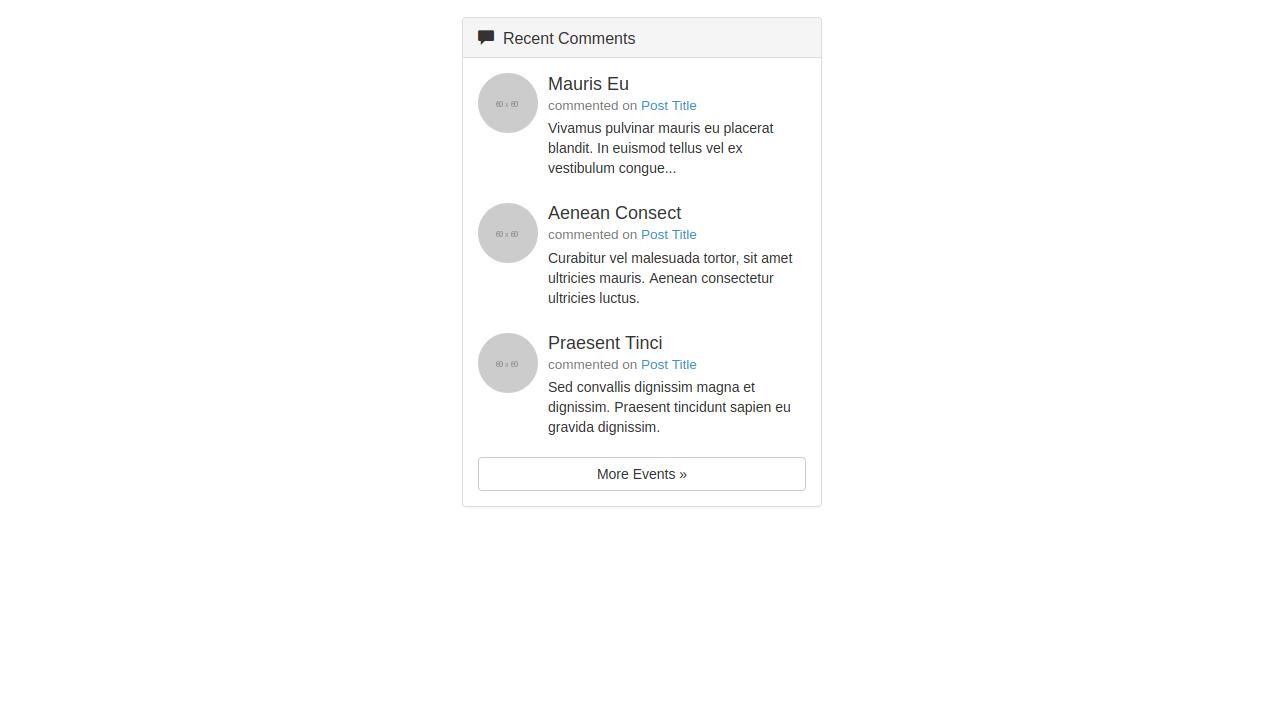 Demo image: Bootstrap Recent Comments Widget
