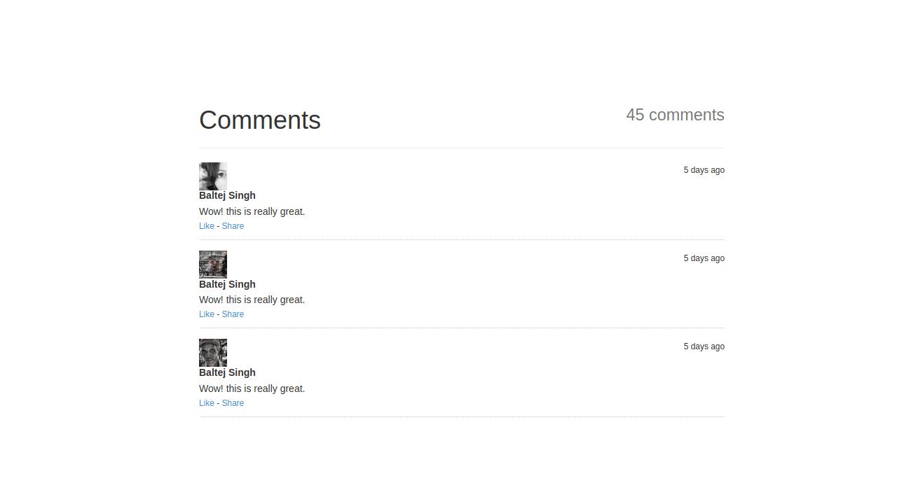 Demo image: Bootstrap Comments List