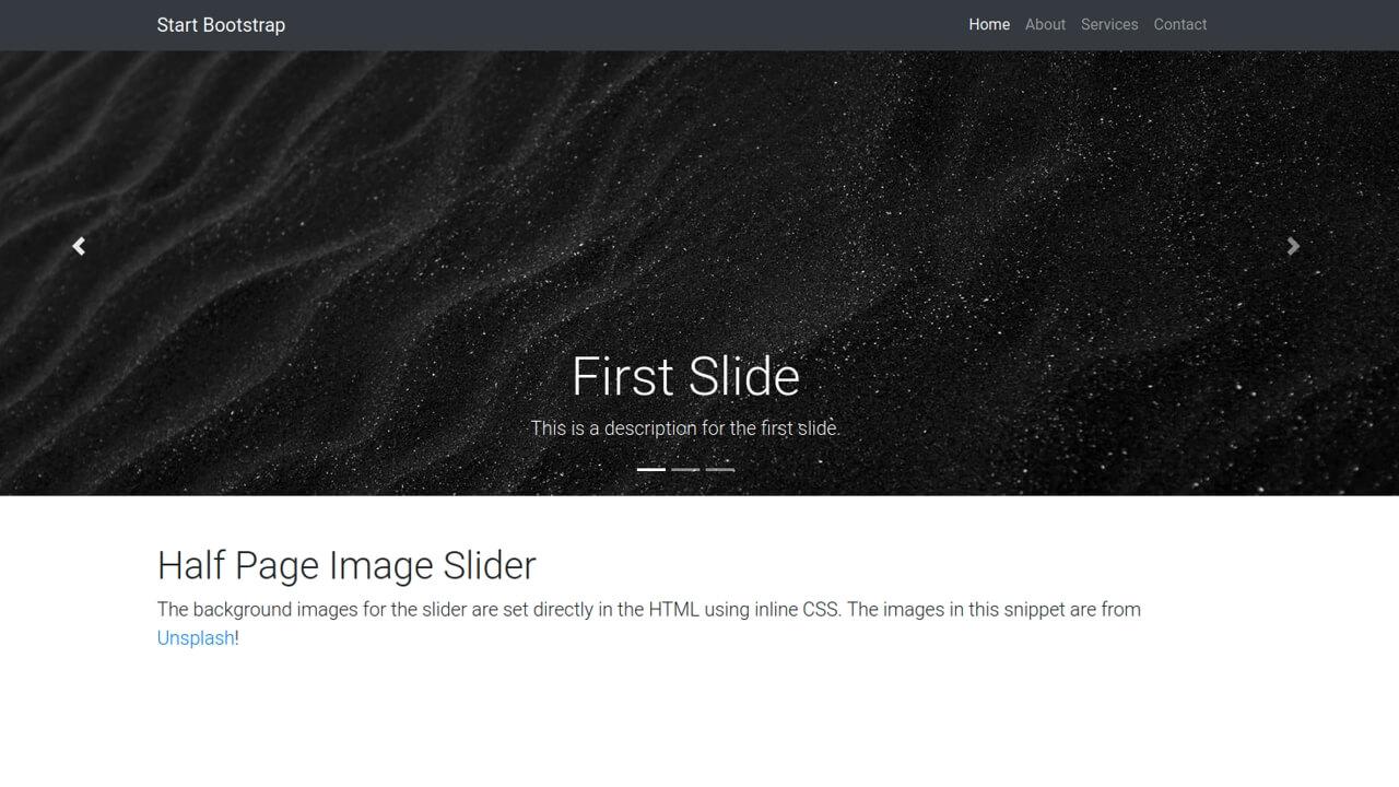 Demo image: Bootstrap 4 Half Page Image Slider Header