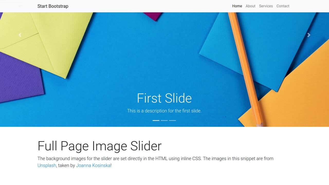 Demo image: Bootstrap 4 Full Page Image Slider Header