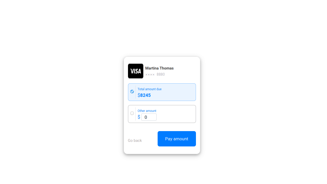 Demo image: Bootstrap 4 Payment Card