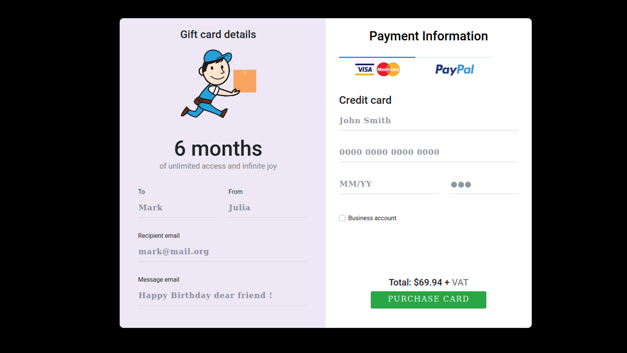 Demo image: Bootstrap 4 Gift Card Payment Form