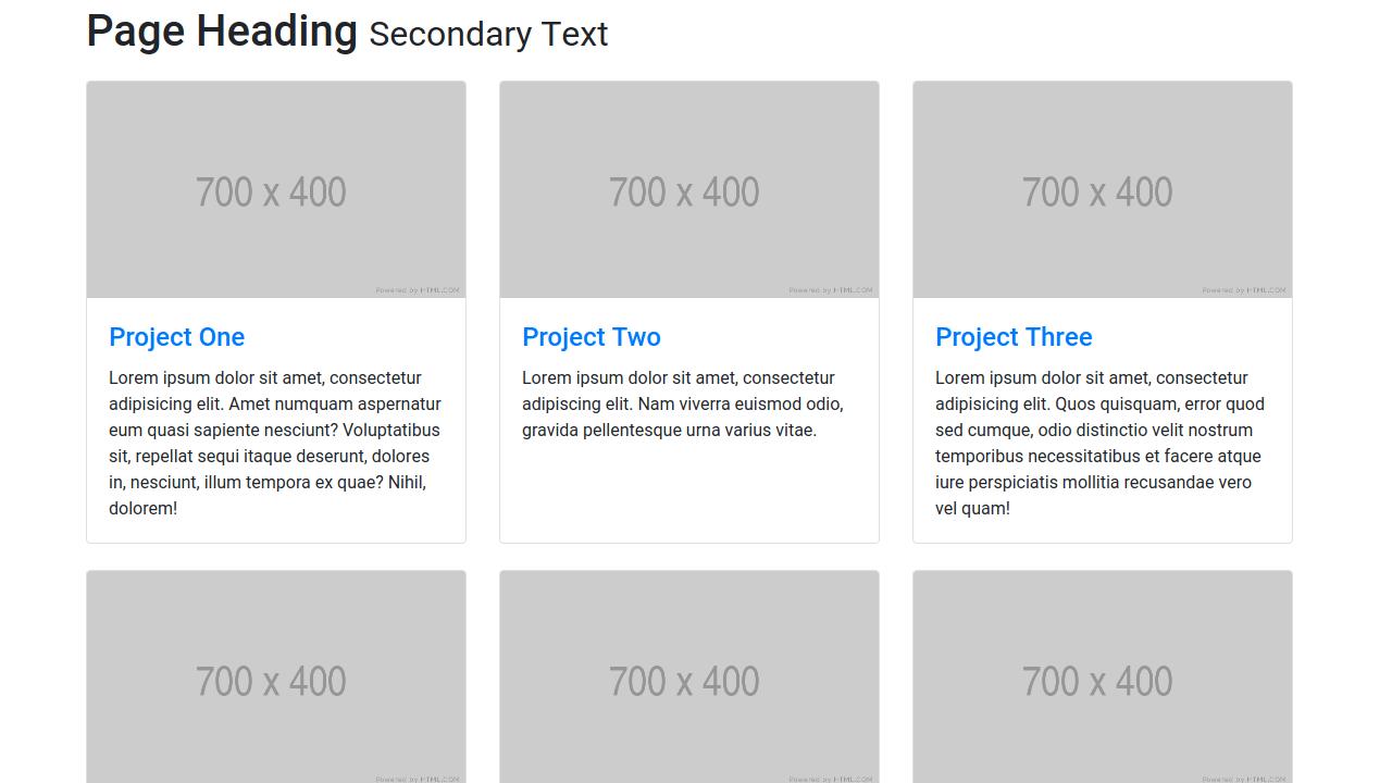Demo image: Bootstrap 4 Three Column Portfolio Layout