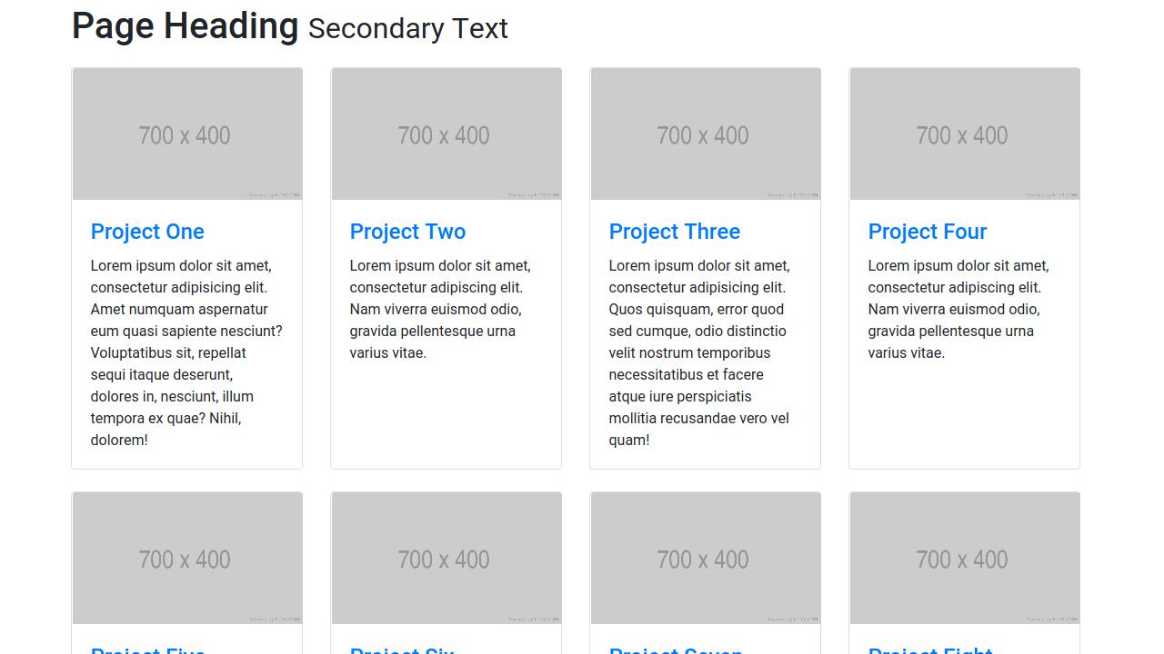 Demo image: Bootstrap 4 Four Column Portfolio Layout
