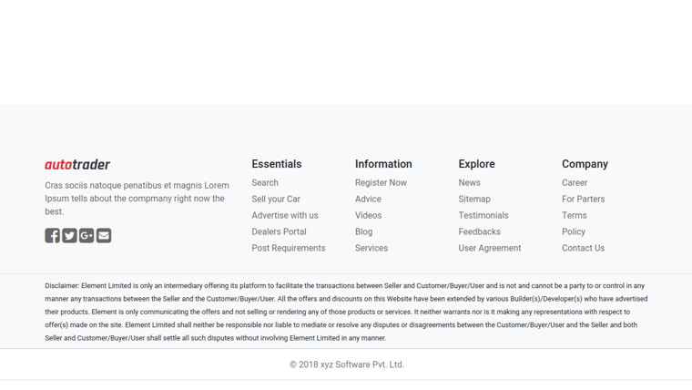 Demo image: Footer Simple Bootstrap 4