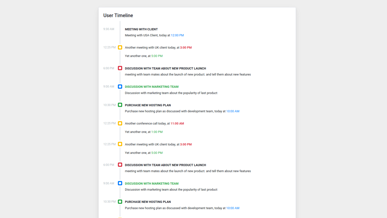 Demo image: Bootstrap 4 User Business Timeline with Time