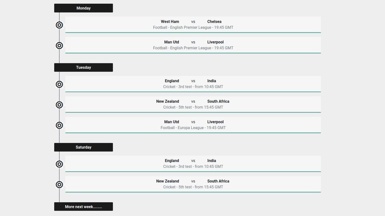 Demo image: Bootstrap 4 Event Timeline