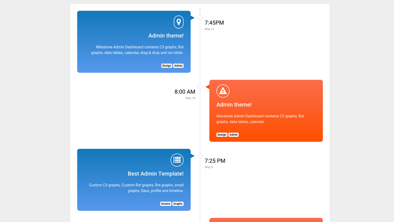 Demo image: Bootstrap 4 Timeline Color Row