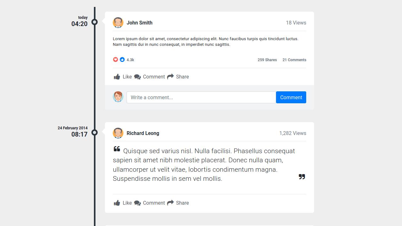 Demo image: Bootstrap 4 Timeline