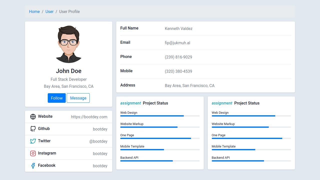 Demo image: Profile with Data and Skills