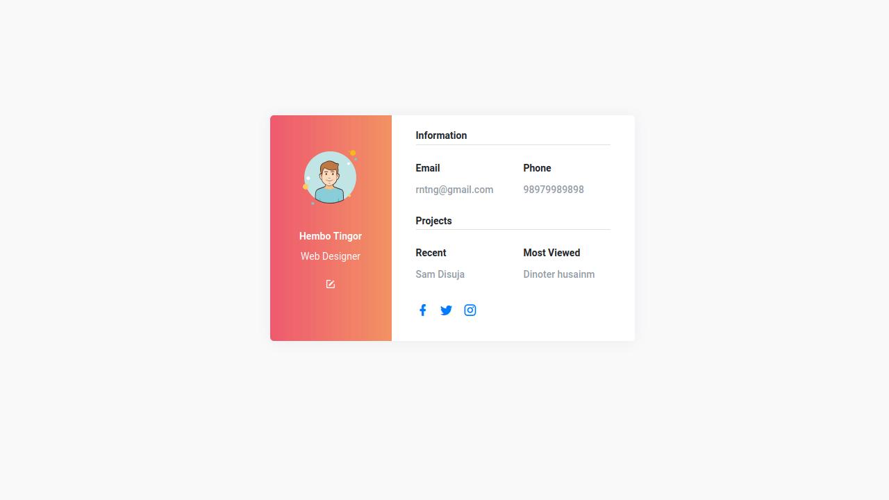 Demo image: Bootstrap 4 Social Profile