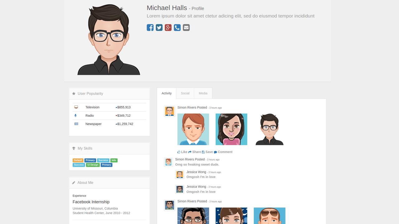 Demo image: Bootstrap Media Profile