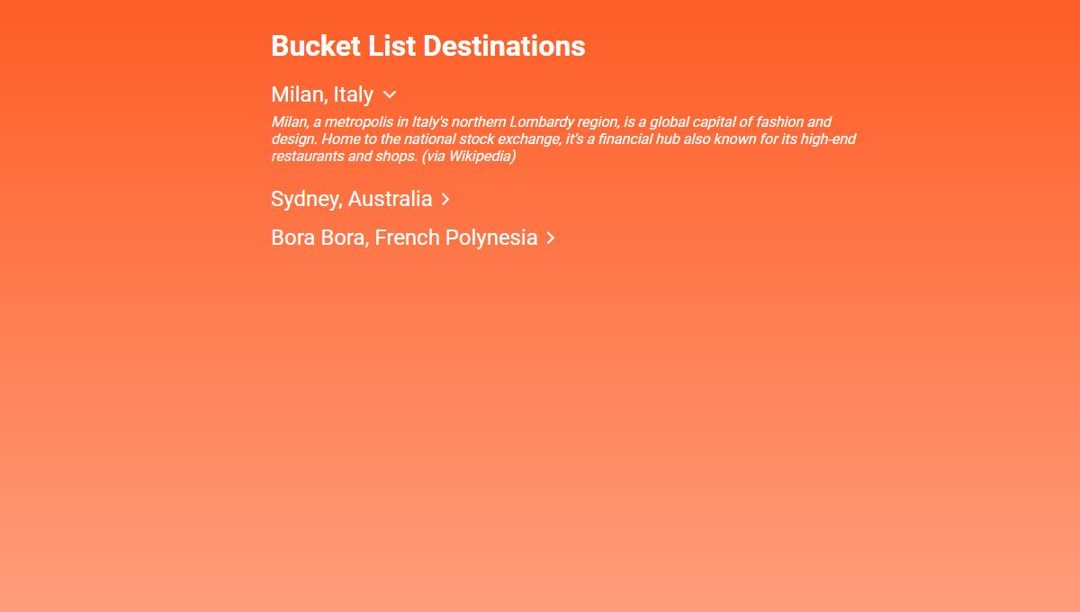 Demo image: Bucket List Destinations