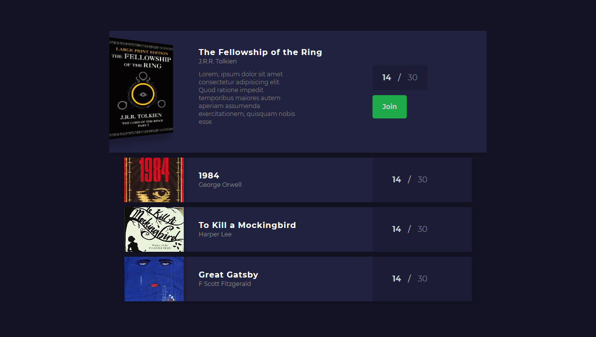 Demo image: Book Group UI