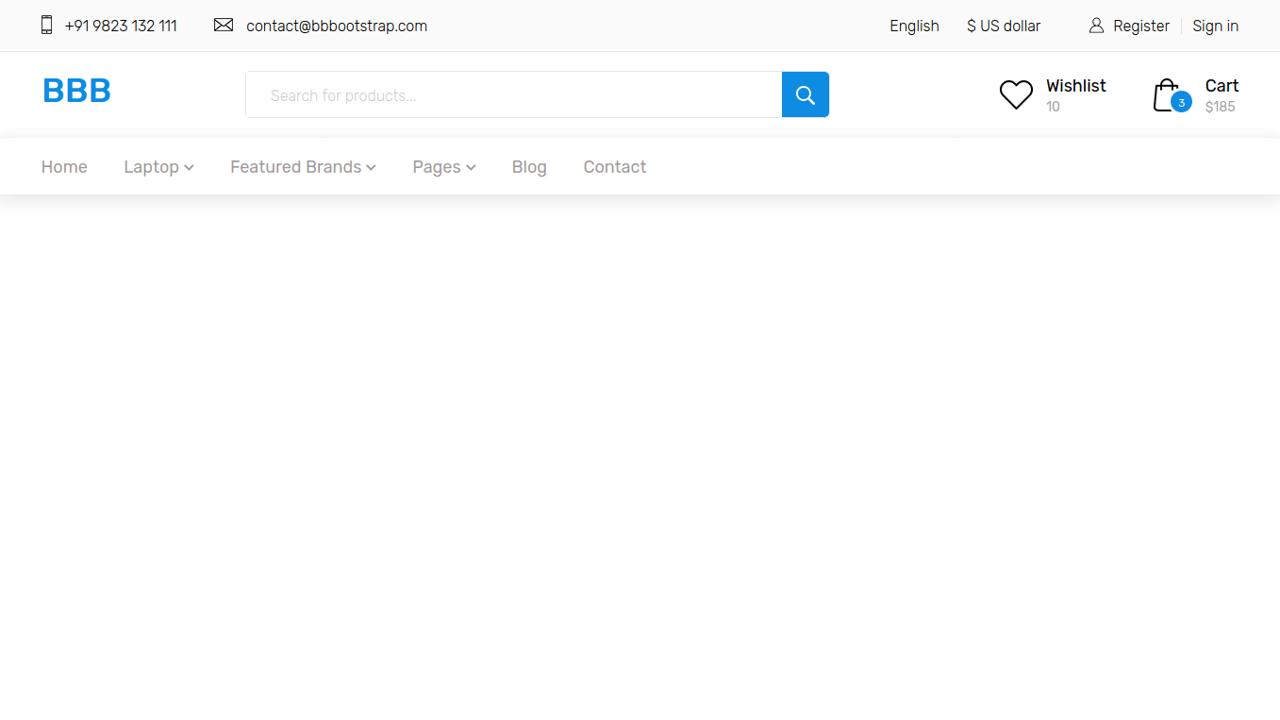 Demo image: Bootstrap 4 E-Commerce Menu Header Using HTML CSS