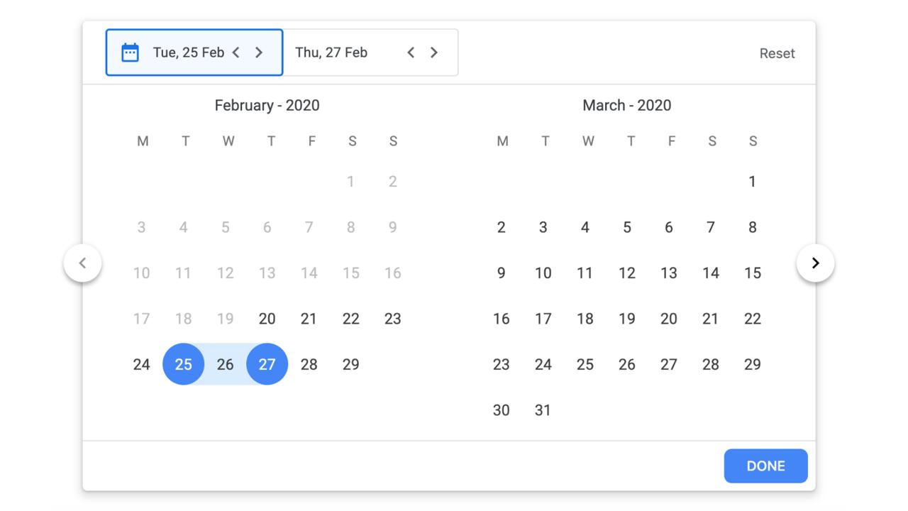 Demo image: React Google Flight Datepicker