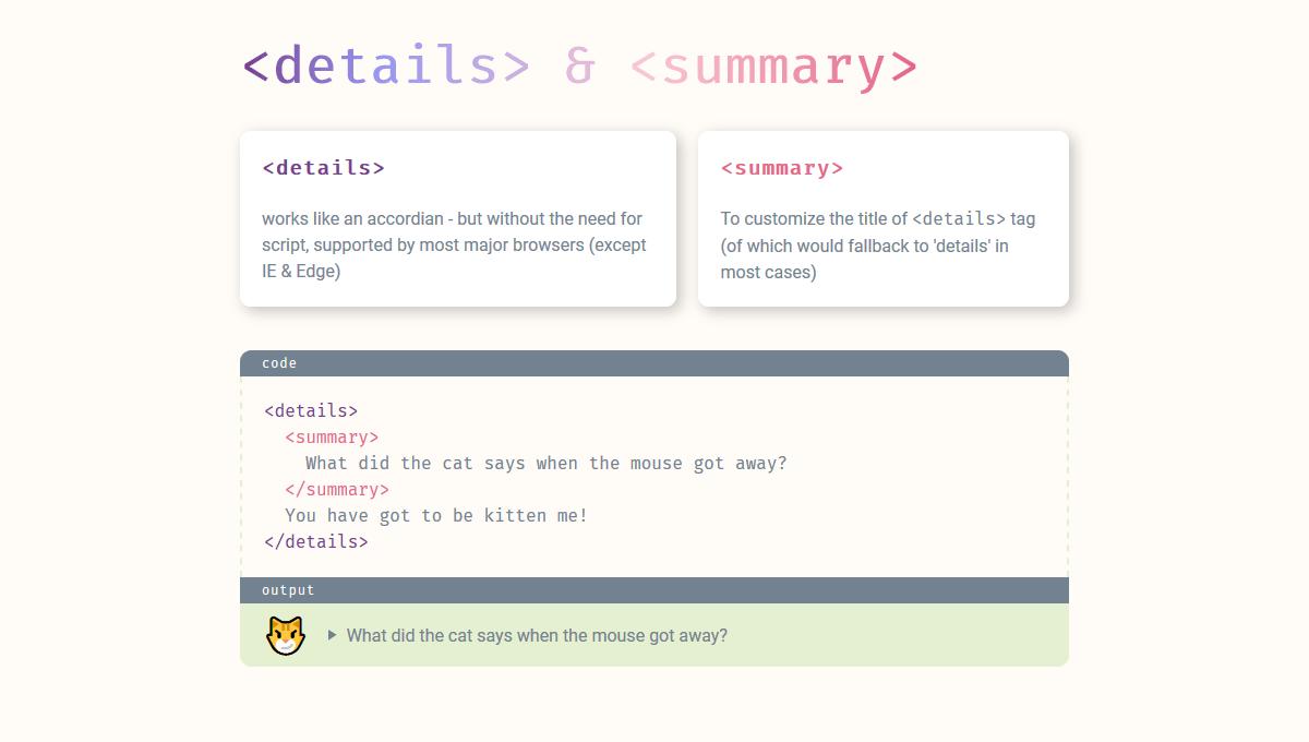 Demo image: HTML5 Details & Summary