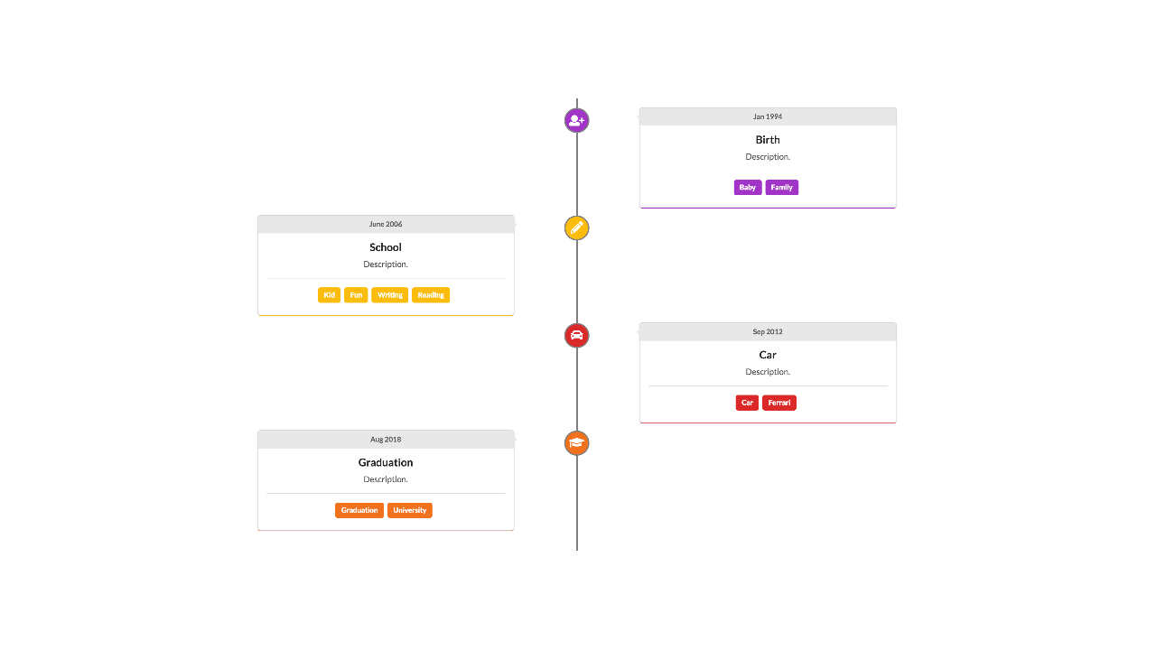 Demo image: React Timeline Semantic UI