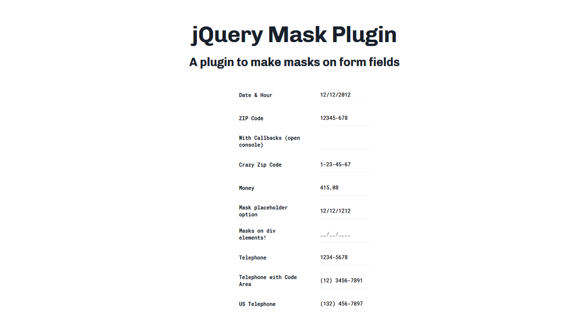 Demo image: jQuery Mask Plugin