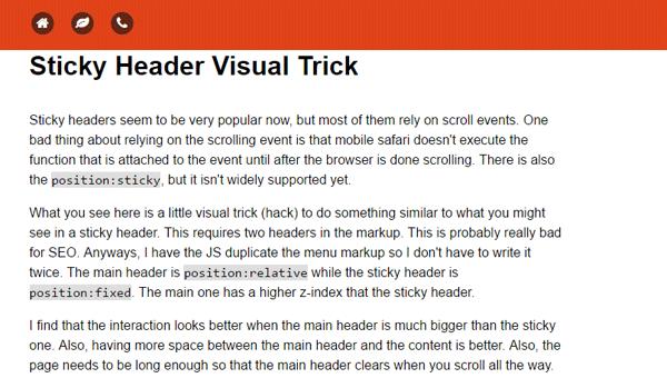 Demo Image: Sticky Header Visual Trick