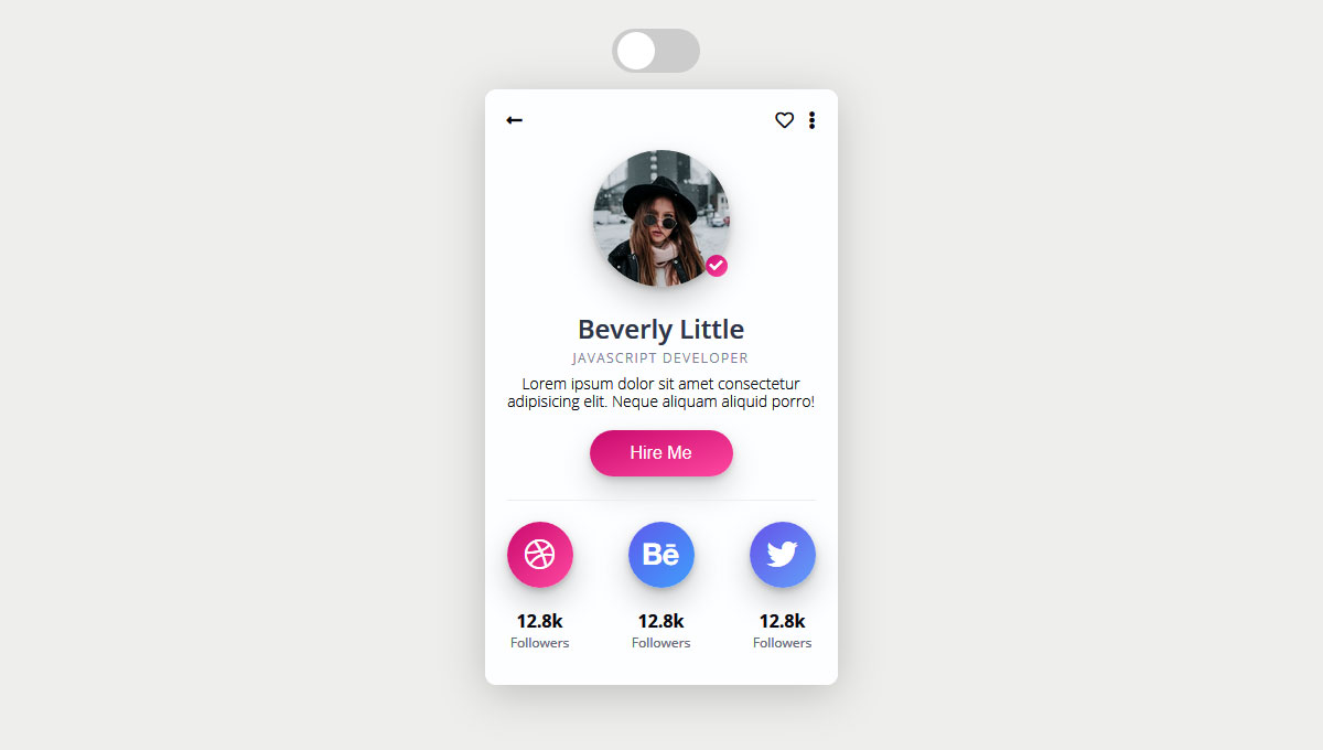 Demo image: CSS Profile Card