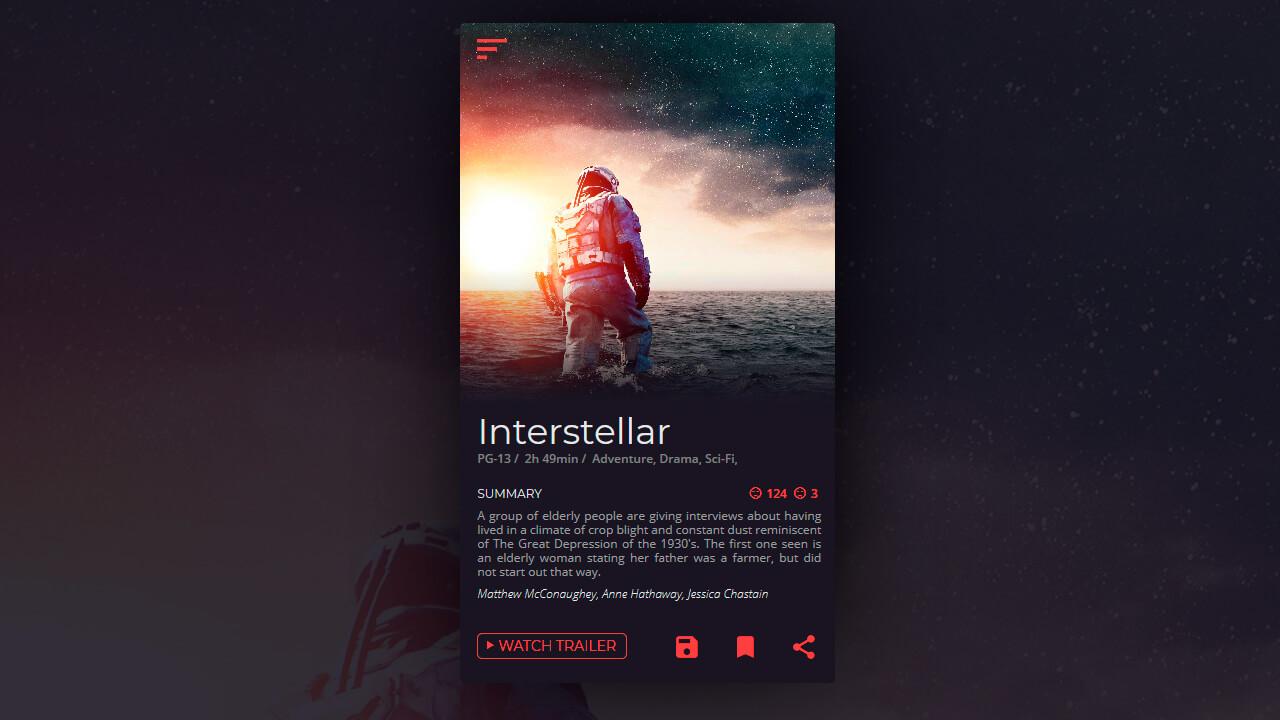 Demo image: Daily UI Movie Card
