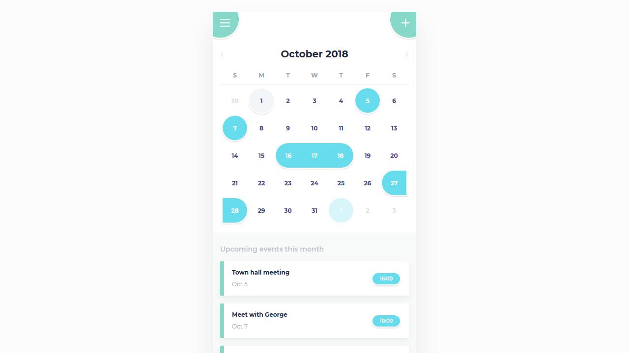 Demo image: Calendar Mobile App UI