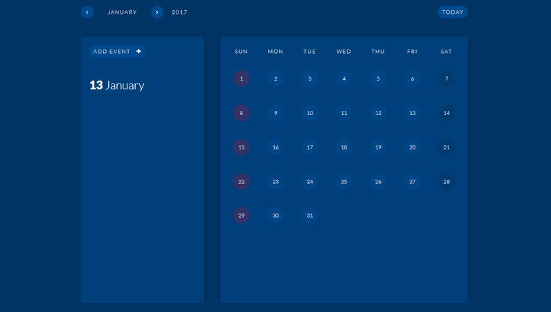 Demo image: Simple Calendar
