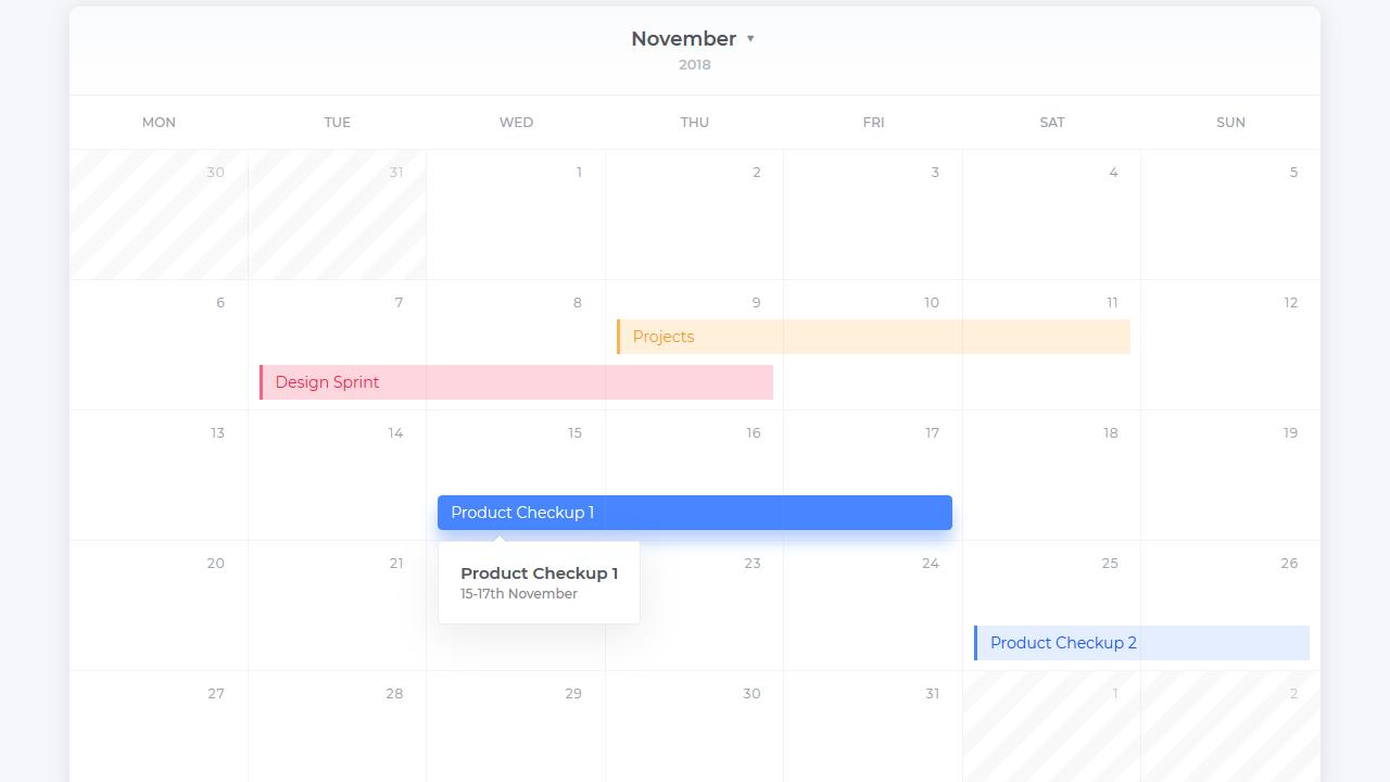 Demo image: CSS Grid Calendar