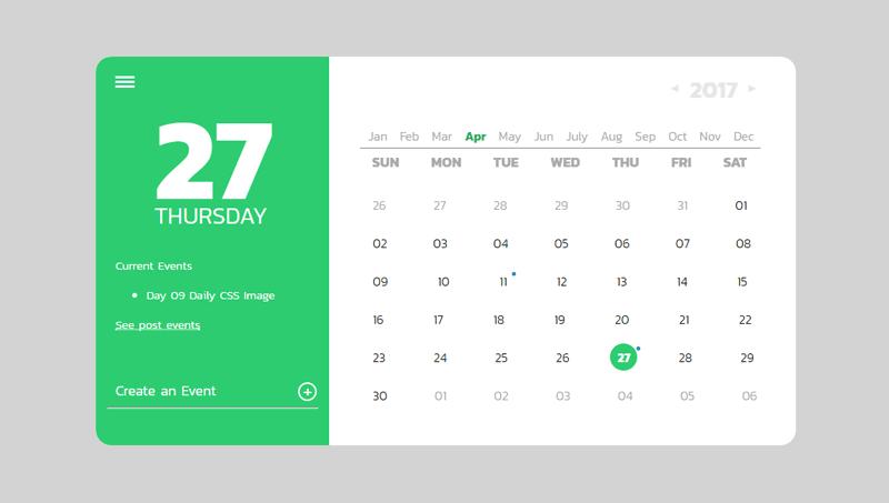 Demo image: Calendar UI