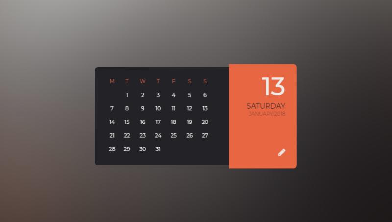Demo image: Parallax Flipping Calendar