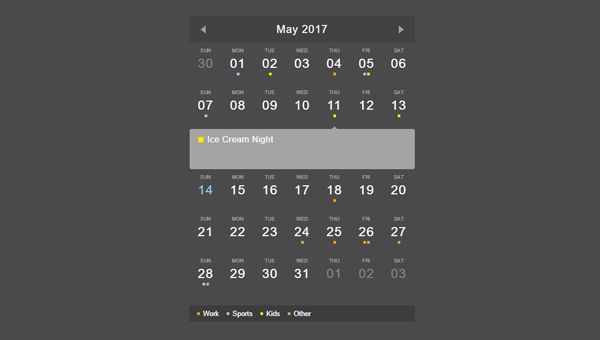 Demo Image: Event Calendar Widget