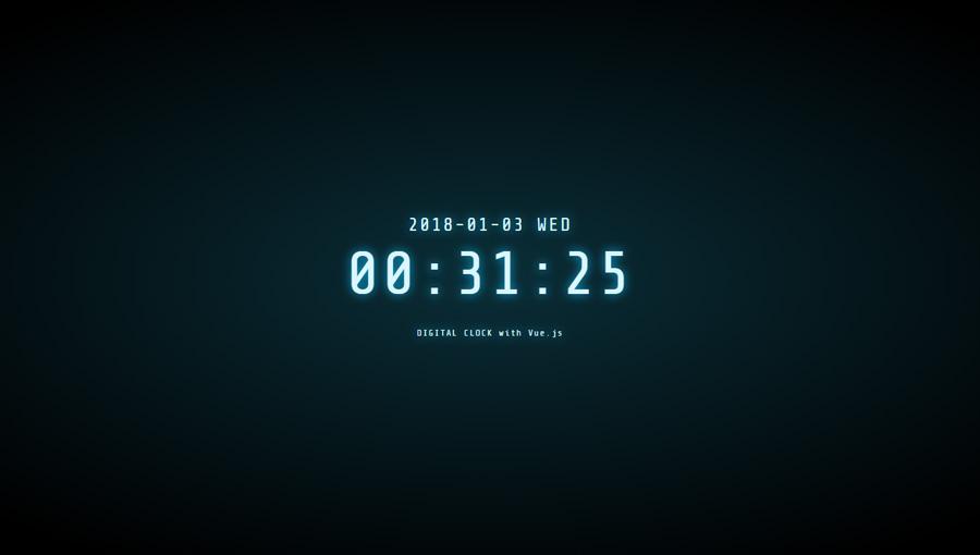 Demo image: Digital Clock with Vue.js