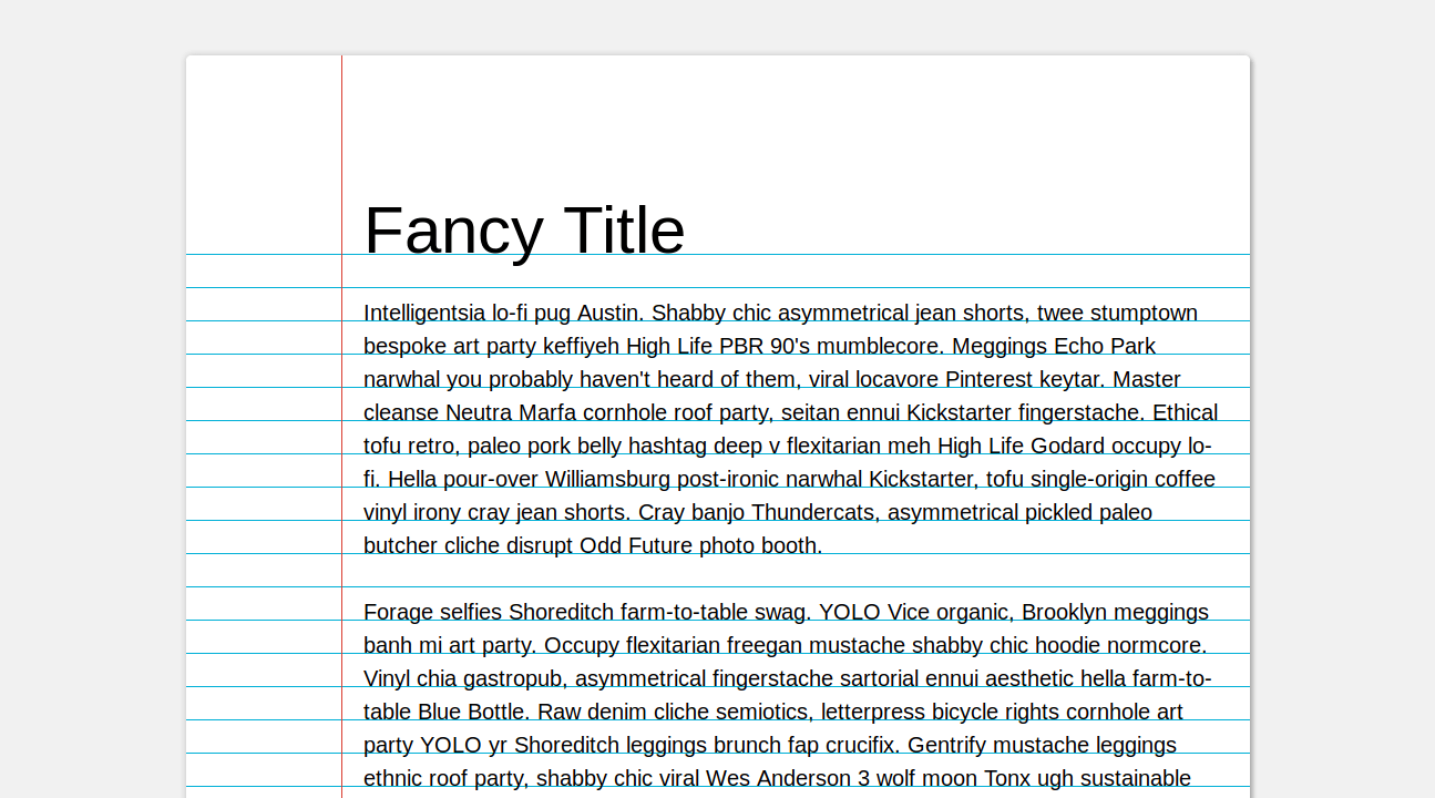 Demo image: CSS Notebook Paper