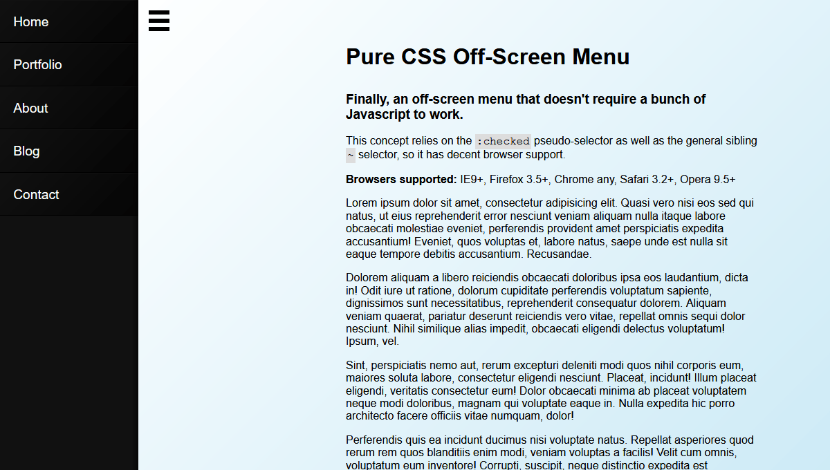 Demo image: Pure CSS Off-Screen Menu