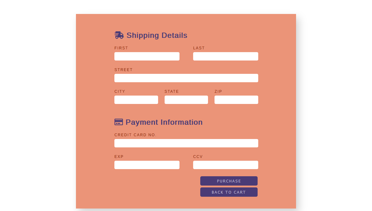 Demo image: CSS Checkout Form/Page
