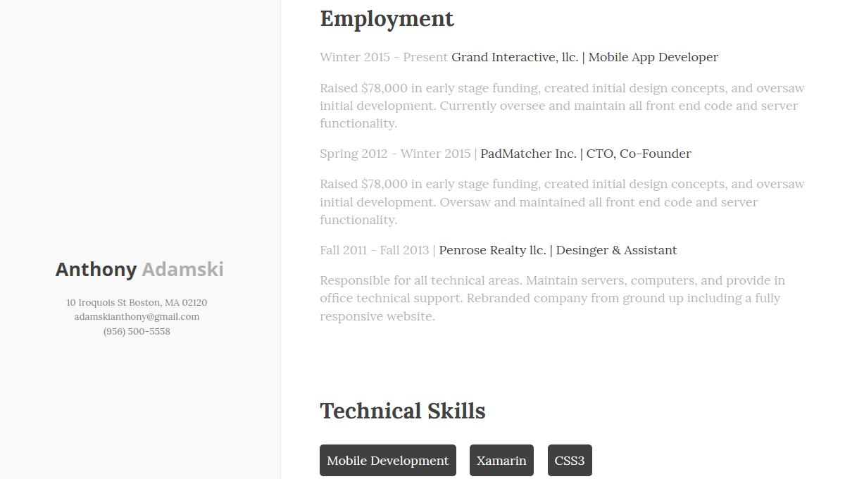 Demo image: Resume Concept
