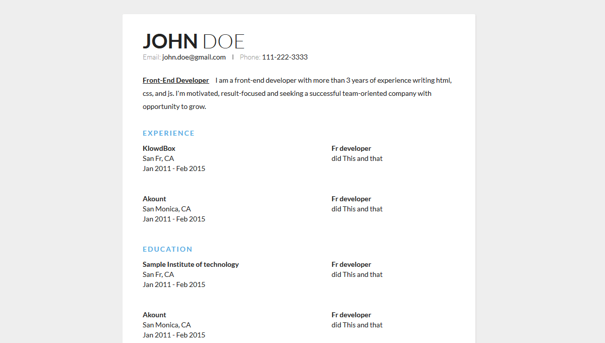 Demo image: Sample Resume