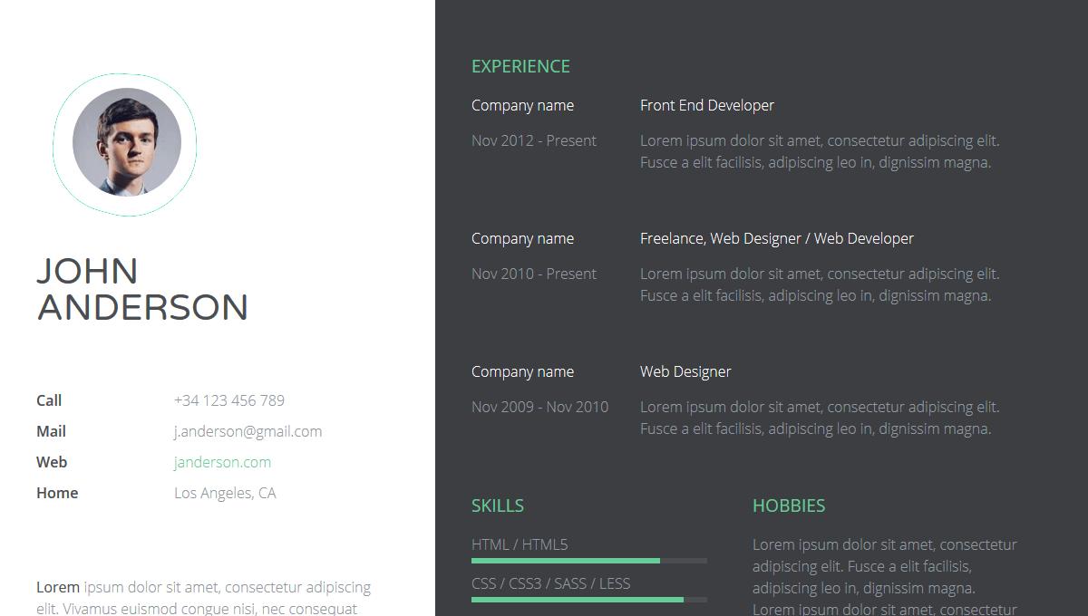 Demo image: Responsive Resume Template