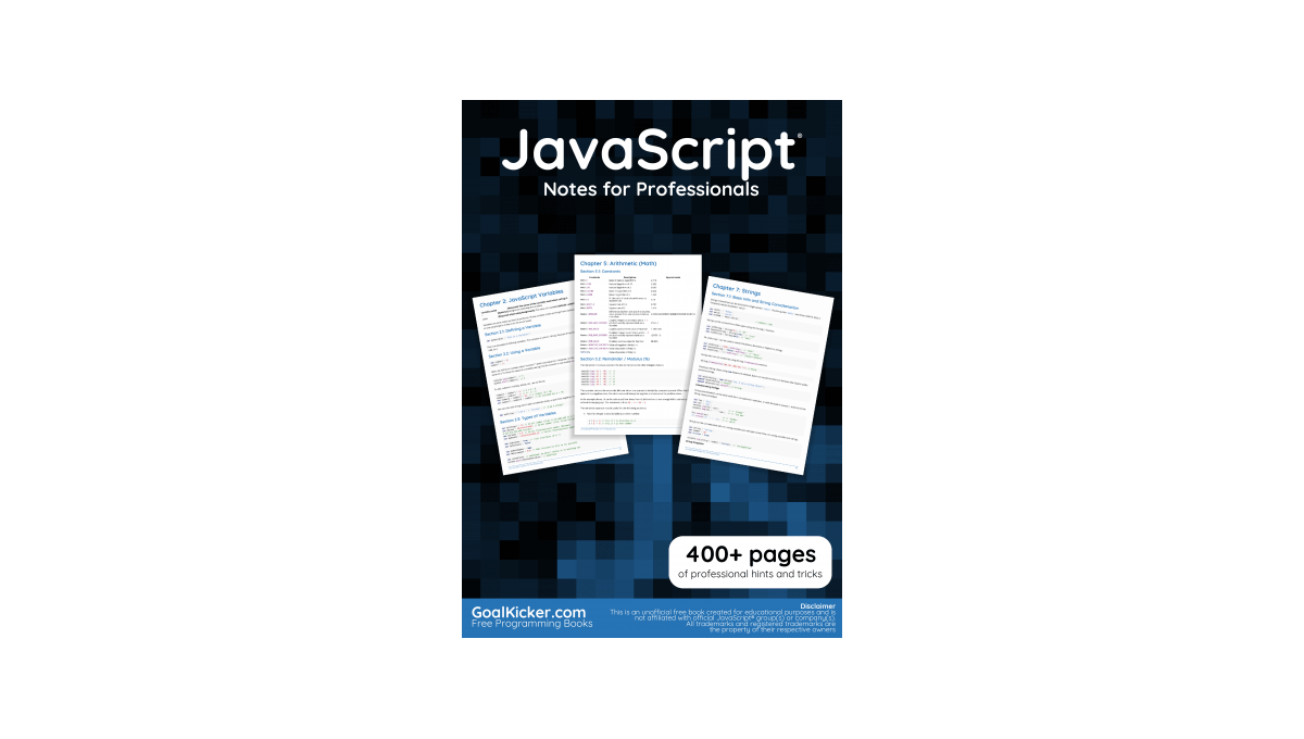 Book image: JavaScript Notes For Professionals