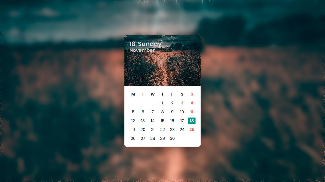 Demo image: CSS Calendar UI Design